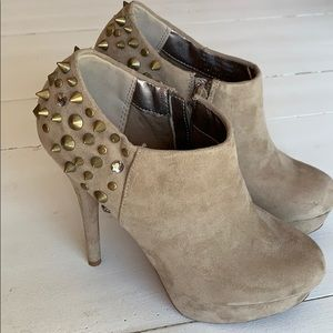 Stud and jewel suede-like bootie
